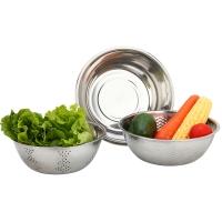 美厨(maxcook)不锈钢盆 洗菜篮调料盆米筛味斗三件套 MCM-3 可叠放 和面淘米洗菜
