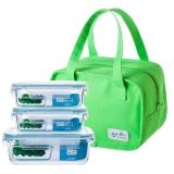贝特阿斯(BestHA)耐热玻璃保鲜盒三件套(400ml*2+800ml) 烤箱 冰箱 微波炉适用饭盒RL3-01B 送绿色保温包