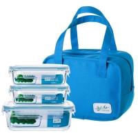 贝特阿斯(BestHA)耐热玻璃保鲜盒三件套(400ml*2+800ml) 烤箱 冰箱 微波炉适用饭盒RL3-01B 送蓝色保温包