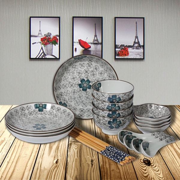 根因陶瓷 日韩式餐具套装20头手绘日式餐具创意日式碗盘家用陶瓷餐具
