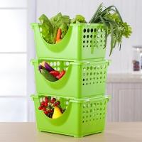 爱思得(Arsto)塑料厨房置物架收纳层架蔬菜篮水果蔬菜收纳架调味储物架加厚7972A3绿色3层