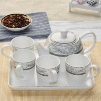 雅诚德arst雅航中式陶瓷整套茶具带茶盘茶漏套装(1壶4杯1茶盘)