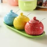 乐享 陶瓷彩虹调味罐三件套装创意韩式家居用品调料盒厨房用品