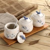 樱之歌 纯手绘雪花釉日式素瓷调味罐3件套(含竹垫)