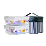 乐扣乐扣 玻璃饭盒 微波炉保鲜盒两件套装 可作密封罐便当盒餐盒赠灰白便当包 LLG431*2 750ml*2