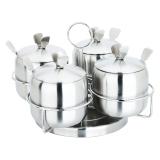 美厨(maxcook)不锈钢调味罐 四件套 旋转支架调料盒 MCPJ-WG004 (带支架 带调料勺 不生锈)