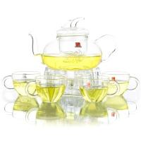 一屋窑 耐高温玻璃茶具 礼盒套装 花草茶具五件套 四杯一壶