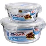 乐扣乐扣(LOCKLOCK)耐热玻璃保鲜盒 便当盒两件套装 微波烤箱饭盒(380+870ML)LLG855S013PR