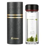 特美刻(TOMIC)玻璃杯 双层透明水杯子耐热茶隔泡茶水晶杯 1BSB9511伯爵黑350ML