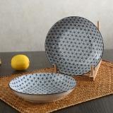 佳佰 盘子满天星系列7英寸和韵陶瓷饭盘套装2件套