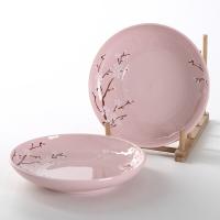 佳佰 盘子樱花语系列8英寸露珠陶瓷饭盘套装2件套(粉)