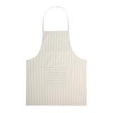 佳佰日式纯棉条纹围裙 白茶灰