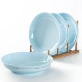 佳佰 盘子海洋之光系列7英寸护边陶瓷饭盘套装4件套