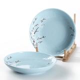 佳佰 盘子樱花语系列8英寸露珠陶瓷饭盘套装2件套(蓝)