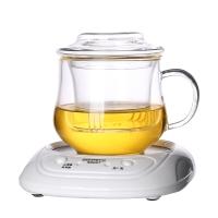 品茶忆友 茶具套装 茶杯耐热玻璃杯带茶漏茶滤保温加热杯垫恒温器 水趣保温底座套装