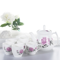 洁雅杰茶具套装 陶瓷茶具7件套(1茶壶6茶杯)大容量陶瓷茶壶套装 牡丹把杯