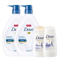 多芬(DOVE)滋养美肤沐浴露套装 深层营润730gx2送洗护旅行装50ml+50ml