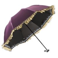 百盛洋 清艳脱俗黑胶防晒折叠拱形蕾丝公主太阳伞 4320海棠红
