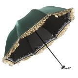 百盛洋 清艳脱俗黑胶防晒折叠拱形蕾丝公主太阳伞 4320绿色