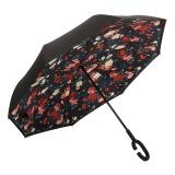 百盛洋伞 7103双层免持式反向伞双层雨伞汽车用长柄大伞男女晴雨两用直杆大号伞 小碎花