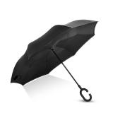 Hommy 双层反向反骨超强防雨防晒免持式长柄直柄伞收纳便捷 黑色