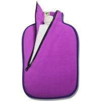 Hugo Frosch斜拉链绒布外套系列注水热水袋 生态环保暖手宝 艳丽紫3128