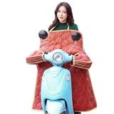 集暖挡风被电动车/摩托车防风防水保暖加厚挡风手套夜间荧光反光条一体冬季保暖被红色