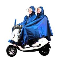 雨航(YUHANG)提花布电动电瓶摩托车雨衣男女式双人雨披 大帽檐带面罩 4XL蓝色