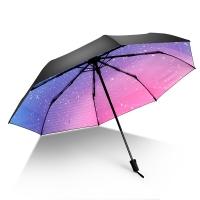 iRain Umbnella 防晒伞折叠防紫外线伞晴雨伞太阳伞三折伞黑胶伞遮阳伞 渐变星辰