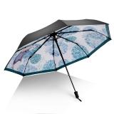 iRain Umbnella 防晒伞折叠防紫外线伞晴雨伞太阳伞三折伞黑胶伞遮阳伞  素雅兔