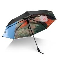 iRain Umbnella 防晒伞折叠防紫外线伞晴雨伞太阳伞三折伞黑胶伞遮阳伞 麦田守望