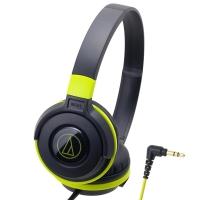 铁三角(Audio-technica)ATH-S100 HIFI重低音便携头戴式音乐耳机 黑绿色
