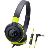 铁三角(Audio-technica)ATH-S100IS HIFI重低音线控带麦便携头戴式手机耳机 黑绿色