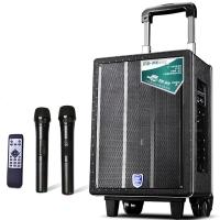 双诺 声美Q802 8英寸低音 户外拉杆音箱 便携式广场舞音响 大功率录音扩音器 双手持麦 黑色
