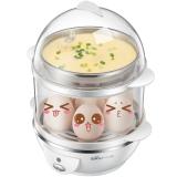 小熊(Bear)煮蛋器 蒸蛋器自动断电防干烧煮蛋机双层可煮14个蛋304不锈钢蒸碗 ZDQ-206
