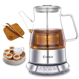 东菱(Donlim)养生壶 玻璃 加厚 无级提篮 浸泡煮变频熬煮二合一 多功能全自动煮茶壶 煮茶器 KE-8008B