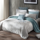 梦洁家纺出品 MAISON 床品套件 纯棉绣花四件套 床单款 科莫湖畔 1.8米床 248*248cm