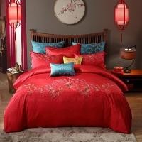梦洁家纺出品 MAISON 床品套件 婚庆提花绣花八件套 床单被罩 并蒂同心 1.8米床 248*248cm