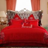 梦洁家纺(MENDALE)床品套件 婚庆六件套 床单被罩 绣花提花 吉祥 1.8米床 248*248cm