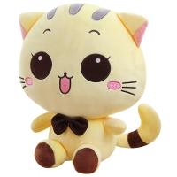 爱满屋 毛绒猫咪开心大脸猫毛绒玩具公仔玩偶布娃娃 浅黄色圆眼80cm