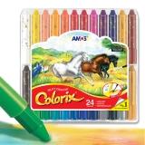 AMOS韩国进口旋转可水洗蜡笔/粉彩/水彩三合一儿童绘画工具 24色粗杆塑料盒装
