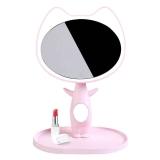 良美惠 Kiss猫咪化妆镜台灯 LED台式带灯创意礼品情人节生日礼物送女友 温馨粉