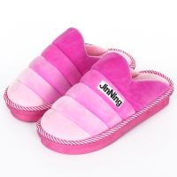集暖棉拖鞋女居家地板拖渐变粉260(适合36-37码)A00006