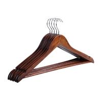 佳佰 衣架 成人晒衣服架 实木经典衬衫衣架 44.5CM肩宽 复古色 5支装 2H015