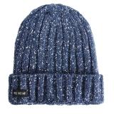 优唯美 秋冬季情侣韩版户外骑行针织保暖帽子男士 藏青色均码MSP-604
