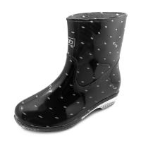 回力 Warrior 雨鞋中筒女鞋防水鞋套鞋雨靴胶鞋 HXL523 粉点黑 38