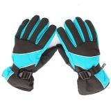 集暖手套电动车/摩托车防风防雨防滑滑雪太空棉秋冬手套 蓝色