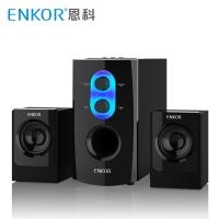 恩科(ENKOR)E60B 电脑多媒体笔记本木质蓝牙音箱 2.1组合音响低音炮支持U盘SD卡 黑色