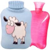 雨花泽(Yuhuaze)带针织布外套冲注水热水袋 橡胶PVC充水暖水袋防爆暖手宝2000ml