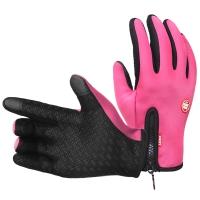 集暖手套电动车/摩托车防风防雨防滑滑雪拉链抓绒秋冬男女通用手套粉色XL号